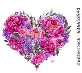 watercolor heart shaped floral... | Shutterstock . vector #636653941
