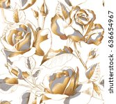 seamless pattern with gold rose ... | Shutterstock .eps vector #636654967