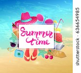 summer time vector illustration.... | Shutterstock .eps vector #636654985