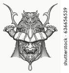 samurai mask hand drawn... | Shutterstock . vector #636656539