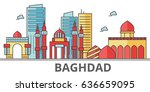 baghdad city skyline. buildings ... | Shutterstock .eps vector #636659095