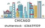 chicago city skyline. buildings ... | Shutterstock .eps vector #636659509
