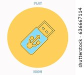 usb flash drive blue outline...