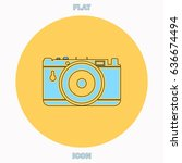 photo camera blue outline...