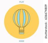 air balloon blue outline vector ...