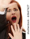 scared abused businesswoman... | Shutterstock . vector #63667627