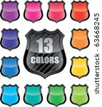 Glossy empty shield (vector icon set of 13 colors vector icon with copy-space) - stock vector