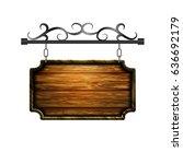 vector wooden signboard | Shutterstock .eps vector #636692179