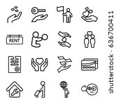 holding icons set. set of 16... | Shutterstock .eps vector #636700411