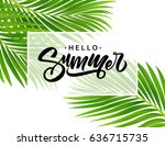 summer poster with tropical... | Shutterstock .eps vector #636715735