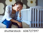 young tired woman sitting on... | Shutterstock . vector #636727597