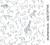 seamless pattern zoo animals... | Shutterstock .eps vector #636729745