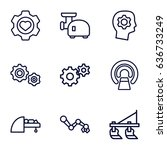 machine icons set. set of 9... | Shutterstock .eps vector #636733249