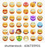 set of 36 cute emoticons on... | Shutterstock .eps vector #636735931