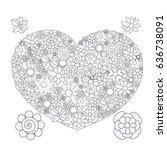 vector black and white flower... | Shutterstock .eps vector #636738091