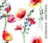 seamless wallpaper with summer... | Shutterstock . vector #636738331