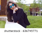a urban stylish model girl... | Shutterstock . vector #636745771