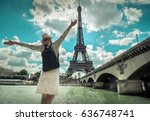 woman tourist selfie near the... | Shutterstock . vector #636748741