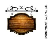 vector wooden signboard | Shutterstock .eps vector #636753631