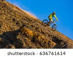 a man is riding on the bicycle  ... | Shutterstock . vector #636761614