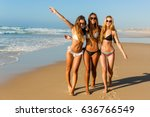 three beautiful girls having... | Shutterstock . vector #636766549