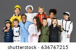 group of diverse kids wearing... | Shutterstock . vector #636767215