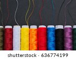 colorful spools of thread on... | Shutterstock . vector #636774199
