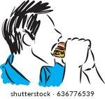 man eating sandwich vector...   Shutterstock .eps vector #636776539