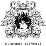 vector hand drawn surreal... | Shutterstock .eps vector #636784615