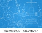 mechanical engineering drawings ... | Shutterstock .eps vector #636798997