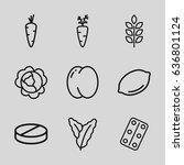 vitamin icons set. set of 9... | Shutterstock .eps vector #636801124