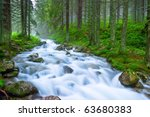 Rushing Blue River In A...