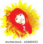 vector sun girl | Shutterstock .eps vector #63680452