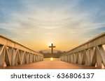 silhouette christian cross and... | Shutterstock . vector #636806137