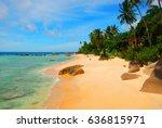 pristine beach on tioman island ... | Shutterstock . vector #636815971