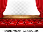 rows of red cinema or theater... | Shutterstock .eps vector #636822385