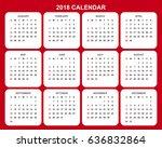2018 calendar planner design. | Shutterstock .eps vector #636832864