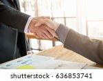 business handshake successful... | Shutterstock . vector #636853741