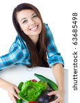 young girl with  vegetables... | Shutterstock . vector #63685498