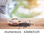 close up coffee cup and... | Shutterstock . vector #636865135