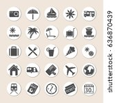 set of holiday icons on... | Shutterstock . vector #636870439