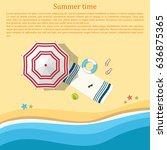 sandy beach with an umbrella... | Shutterstock .eps vector #636875365