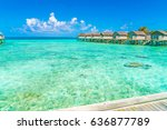 beautiful water villas in... | Shutterstock . vector #636877789