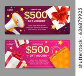 gift voucher card set template... | Shutterstock .eps vector #636879925