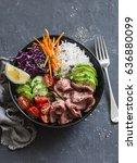 beef steak  rice and vegetable... | Shutterstock . vector #636880099