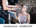 makeup artist working on young... | Shutterstock . vector #636881209