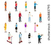 people set man and woman... | Shutterstock .eps vector #636883795