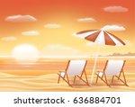 beautiful sunset sea sand beach ... | Shutterstock .eps vector #636884701