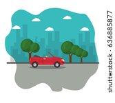red cabriolet car | Shutterstock .eps vector #636885877
