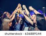 group of friends drinking beers ... | Shutterstock . vector #636889144